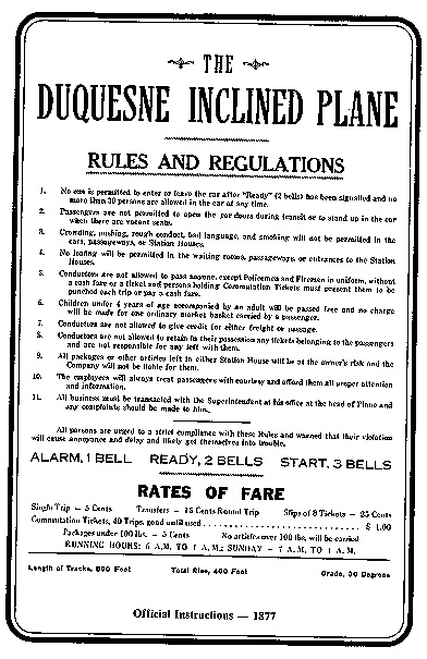 Official Public Instructions for Incline - 1877