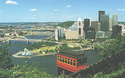 Image of Duquesne Incline Car overlooking Pittsburgh's Golden Triangle