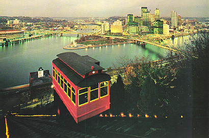Incline car overlooking Pittsburgh's Golden Triangle