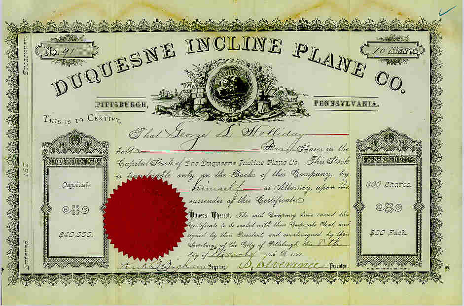 Stock Certificate from the Duquesne Inclined Plane Company