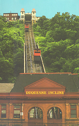 View of two Duquesne Incline cars, tracks, and stations